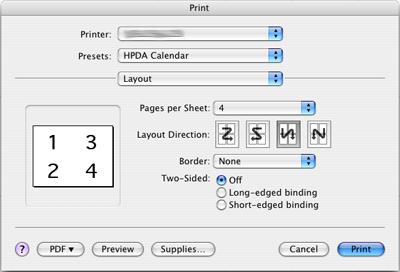 Standard Print dialog layout