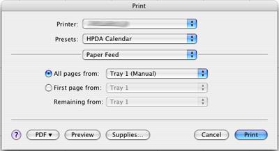 Standard Print dialog paper feed