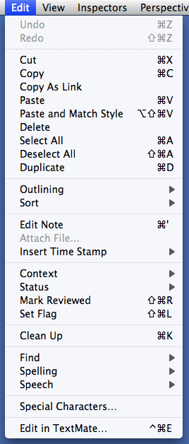 Default OmniFocus Edit menu