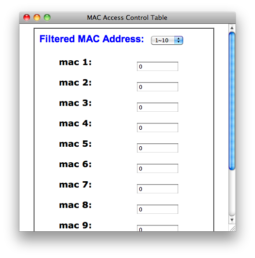 MAC filter form for Linksys router
