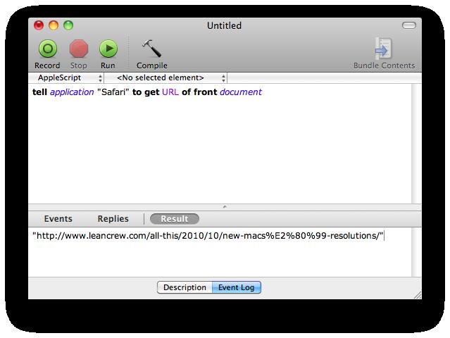 AppleScript results