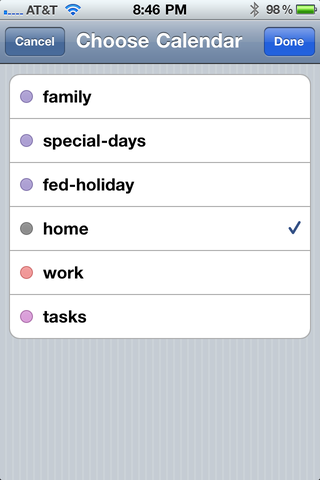 Choose calendar for events