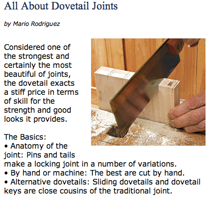 Dovetail joint article from Fine Woodworking