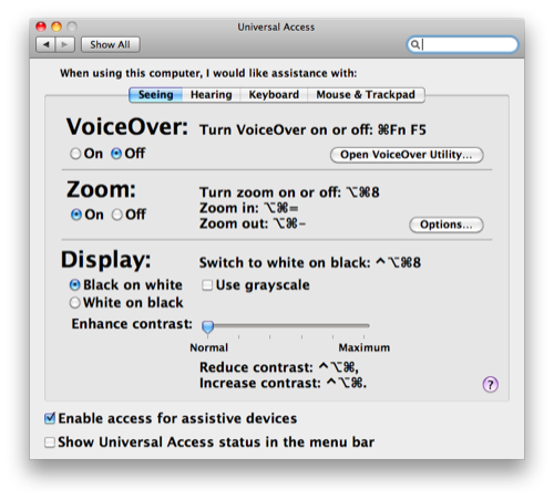 Universal Access System Preference