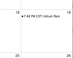 iCal event with time zone showing