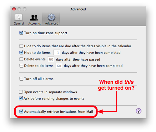 iCal Advanced Preferences