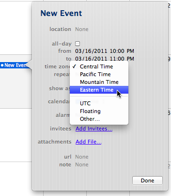 New iCal event with time zone