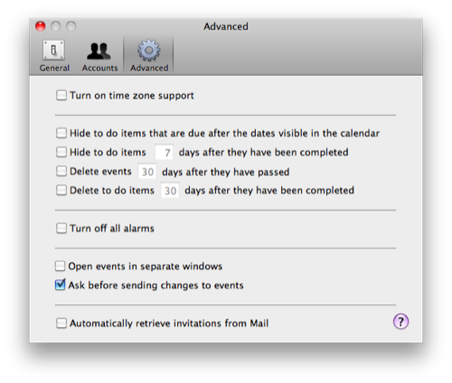 iCal default time zone setting