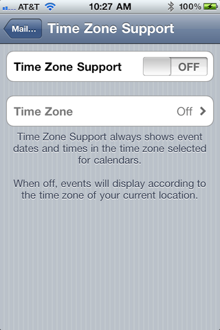 iPhone calendar time zone setting