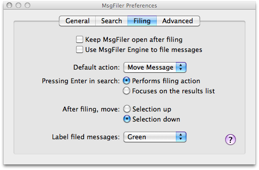 MsgFiler preferences
