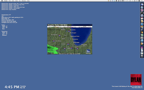 Desktop with weather radar