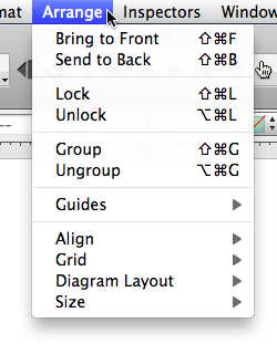 New OmniGraffle arrange menu