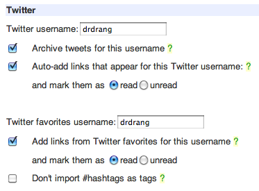 Pinboard Twitter settings