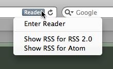 Safari RSS menu