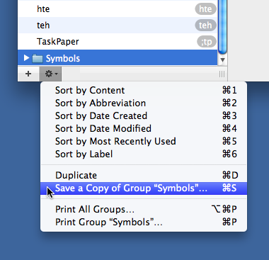 TextExpander save group command