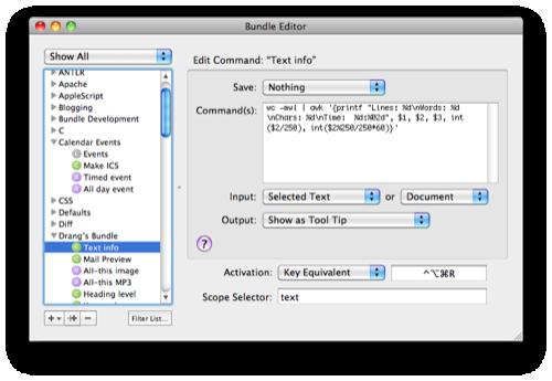 TextMate info command