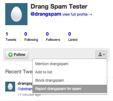 Twitter spam reporting